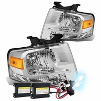 HID Xenon + 07-14 Ford Expedition U324 OEM-Style Crystal Headlights - Chrome Amber