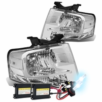 HID Xenon + 07-14 Ford Expedition U324 OEM-Style Crystal Headlights - Chrome Clear