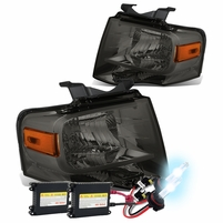 HID Xenon + 07-14 Ford Expedition U324 OEM-Style Crystal Headlights - Smoked Amber