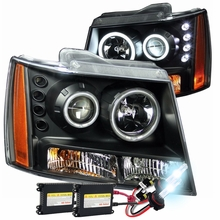 HID Xenon + 07-2013 Chevy Suburban / Tahoe / Avalanche CCFL Halo Projector Headlights - Black