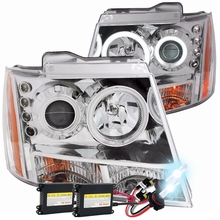 HID Xenon + 07-2013 Chevy Suburban / Tahoe / Avalanche CCFL Halo Projector Headlights - Chrome