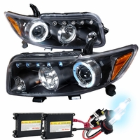 HID Xenon + 08-10 Scion xB Halo LED DRL Projector Headlights Black