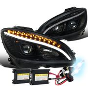 HID Xenon + 08-11 MBenz W204 C-Class LED DRL / Signal Projector Headlights - Black