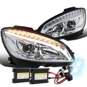 HID Xenon + 08-11 MBenz W204 C-Class LED DRL / Signal Projector Headlights - Chrome