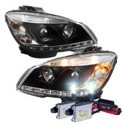 HID Xenon + 08-11 Mercedes Benz C-Class W204 LED DRL Projector Headlights - Black
