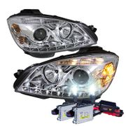 HID Xenon + 08-11 Mercedes Benz C-Class W204 LED DRL Projector Headlights - Chrome