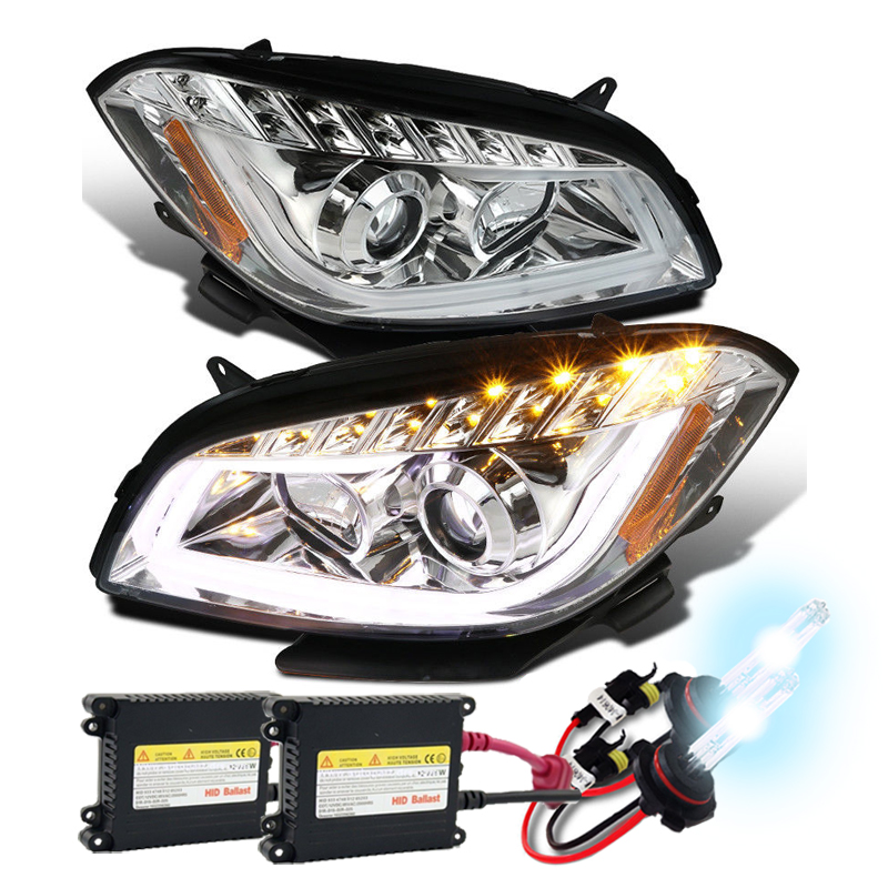 HID Xenon + 08-12 Chevy Malibu LED DRL Projector Headlights