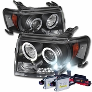 HID Combo 08-12 Ford Escape Angel Eye Halo & LED Strip Projector Headlights - Black