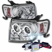 HID Combo 08-12 Ford Escape Angel Eye Halo & LED Strip Projector Headlights - Chrome