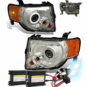 HID Xenon + 08-12 Ford Escape LED DRL Halo Projector Headlights - Chrome
