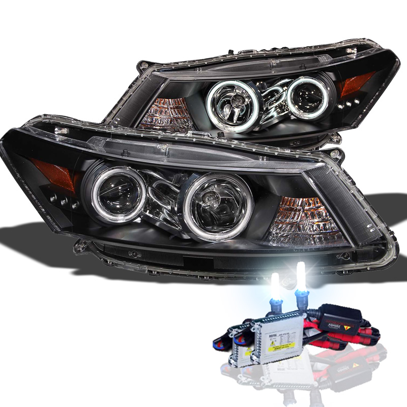 Hid Xenon 08-12 Honda Accord Coupe Ccfl Angel Eye Halo Proiettore Fari - Nero-9214