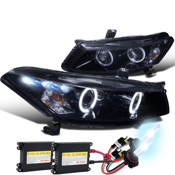 HID Xenon + 08-12 Honda Accord Coupe Dual Halo & LED Projector Headlights - Gloss Black