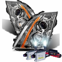 HID Xenon + 08-14 Cadillac CTS [Factory Halogen Model] OE Style Proejctor Headlights - Chrome