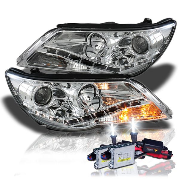 HID Xenon + 09-11 Volkswagen Tiguan LED DRL Projector Headlights - Chrome