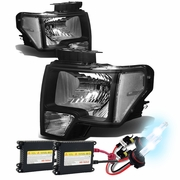 HID Xenon + 09-14 Ford F150 Pickup Euro Crystal Headlights - Black