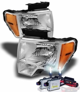 HID Xenon + 09-14 Ford F150 Pickup Euro Crystal Headlights - Chrome