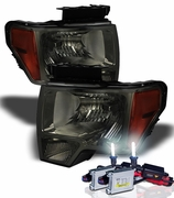 HID Xenon + 09-14 Ford F150 Pickup Euro Crystal Headlights - Smoked