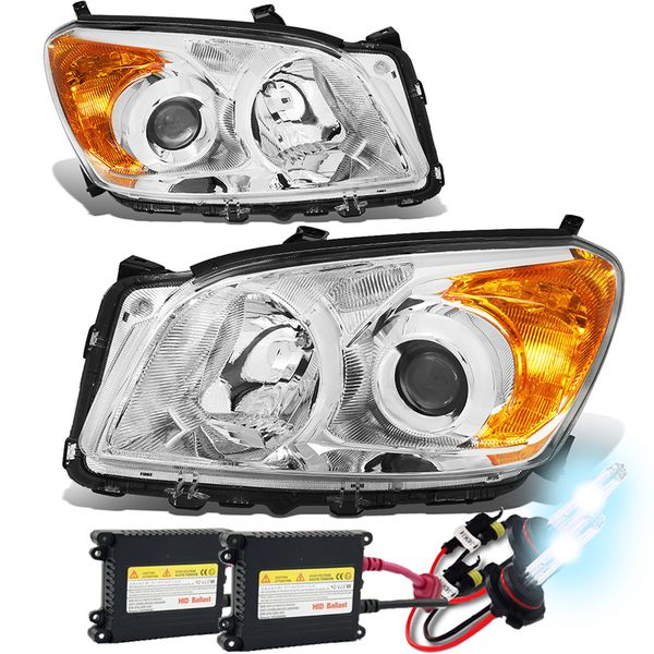 HID Xenon + 09-12 Toyota RAV4 OE-Style Replace Projector Headlights - Chrome / Amber