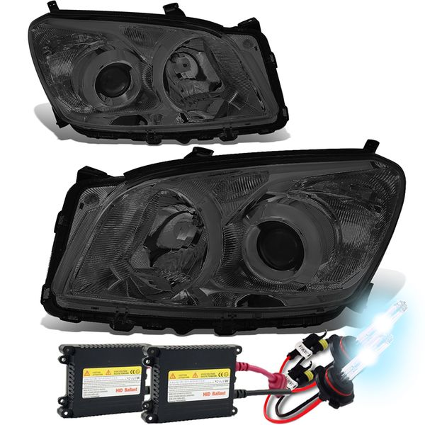 HID Xenon + 09-12 Toyota RAV4 OE-Style Replace Projector Headlights - Smoked / Clear