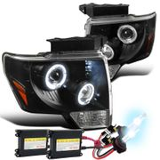 HID Xenon + 09-14 Ford F150 Angel Eye Halo & LED Projector Headlights - Black