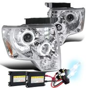 HID Xenon + 09-14 Ford F150 Angel Eye Halo & LED Projector Headlights - Chrome