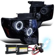 HID Xenon + 09-14 Ford F150 Angel Eye Halo & LED Projector Headlights - Gloss Black