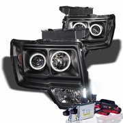 HID Xenon + 09-14 Ford F150 CCFL Angel Eye Halo Projector Headlights - Black