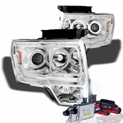 HID Xenon + 09-14 Ford F150 CCFL Angel Eye Halo Projector Headlights - Chrome
