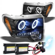 HID Xenon + 09-14 Ford F150 F-150 Angel Eye Halo & LED Projector Headlights - Black