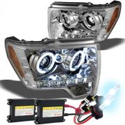 HID Xenon + 09-2014 Ford F150 F-150 Angel Eye Halo & LED Projector Headlights - Chrome