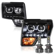 CREE LED Low Beam + 09-14 Ford F-150 SMD LED Angel Eye Halo Projector Headlights - Black