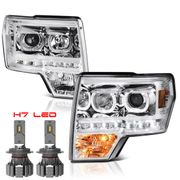 CREE LED Low Beam + 09-14 Ford F-150 SMD LED Angel Eye Halo Projector Headlights - Chrome