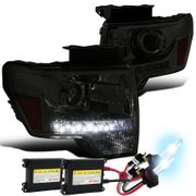 HID Xenon + 09-14 Ford F150 LED DRL Projector Headlights - Smoked