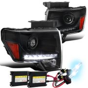 HID Xenon + 09-14 Ford F150 LED DRL Strip Projector Headlights - Black