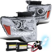 HID Xenon + 09-14 Ford F150 LED DRL Strip Projector Headlights - Chrome