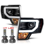 Cree LED Low Beam + 09-14 Ford F150 Optic-DRL Performance Projector Headlights - Black