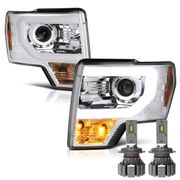 Cree LED Low Beam + 09-14 Ford F150 Optic-DRL Performance Projector Headlights - Chrome