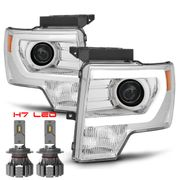 CREE LED LOW BEAM + 09-14 Ford F150 [Raptor Style] LED DRL Projector Headlights - Chrome