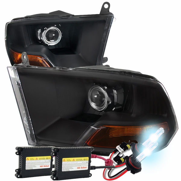 HID Xenon + 09-2018 Dodge RAM 1500 2500 3500 Projector Headlights - Black
