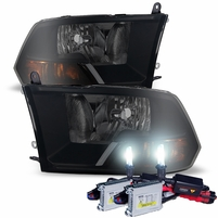 HID Xenon + 09-16 Dodge RAM 1500 2500 3500 Crystal Replacement Headlights - Black Smoked