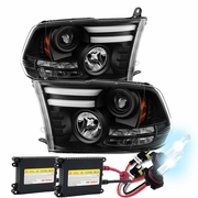 HID Xenon + 09-2018 RAM LED DRL [LED Signal] Projector Headlights - Black