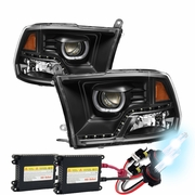 HID Xenon + 09-2018 Dodge RAM LED LED DRL Halo Projector Headlights - Black