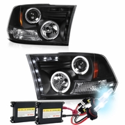HID Xenon + 09-2018 Dodge Ram 1500 / 2500 / 3500 CCFL Halo LED DRL Projector Headlights - Black