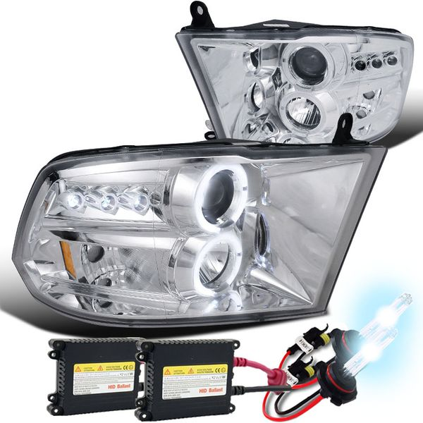 HID Xenon + 09-2018 Dodge Ram 1500 / 2500 Angel Eye Halo & LED Projector Headlights - Chrome
