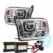 HID Xenon + 09-18 Dodge RAM LED LED DRL Halo Projector Headlights - Chrome