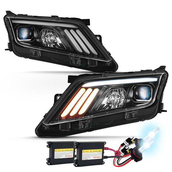 HID Xenon + 10-12 Ford Fusion [Halogen Type] LED DRL Projector Headlights - Black