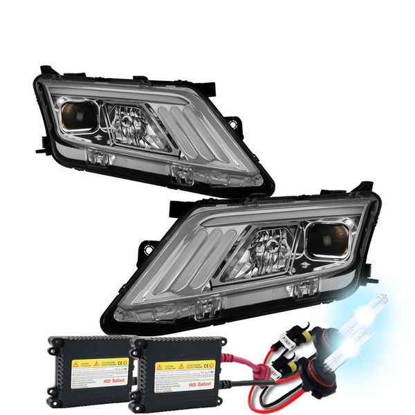 HID Xenon + 10-12 Ford Fusion [Halogen Type] LED DRL Projector Headlights - Chrome