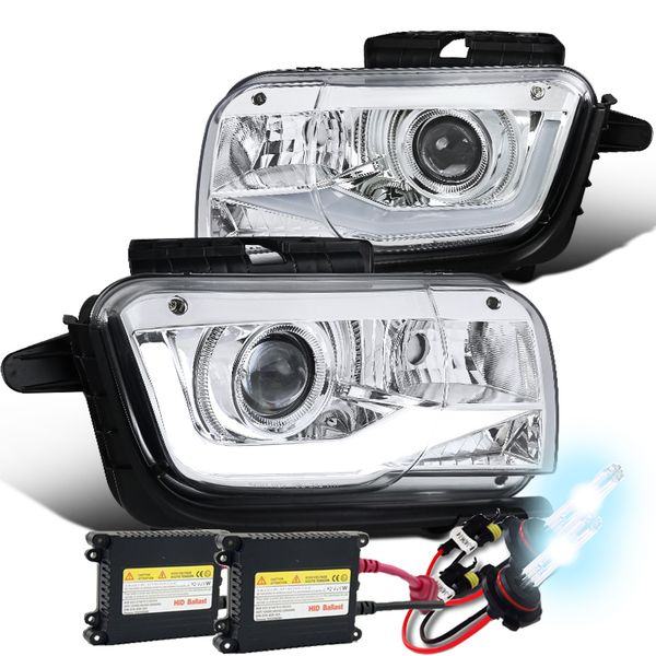 HID Combo 10-13 Chevy Camaro [Halogen Model] LED DRL Tube 3D Projector Headlights - Chrome
