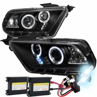 HID Xenon + 10-14 Ford Mustang Angel Eye Halo & LED Projector Headlights - Black