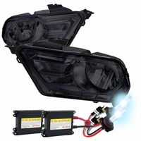 HID Xenon + 10-13 Ford Mustang Euro Style Smoked Crystal Headlights